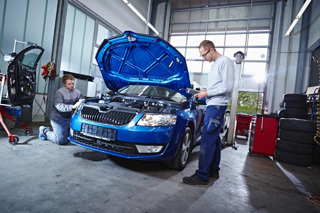 Mitarbeiter bei der Reparatur eines PKW